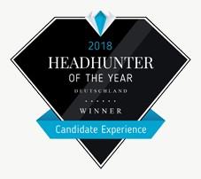 1. Platz für Headhunter-of-the-Year 2018 in der Kategorie Candidate Experience
